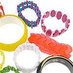 Mixed Resin Bracelets, 21-44mm, 100Strands/Lot, Length:approx 7.5-8 Inch, Sold by Lot