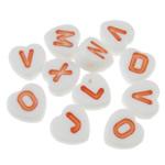 Beads akrilik alfabet, Zemër, asnjë, ngjyra të forta, e bardhë, 7.50x7.50x3.50mm, : 1.5mm, 3200PC/Qese,  Qese