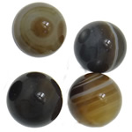Natürliche Kaffee Achat Perlen, Streifen Achat, rund, kein Loch, Kaffeefarbe, 16mm, 50PCs/Menge, verkauft von Menge