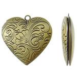 Varëse medalion Zink Alloy, Alloy zink, Zemër, Ngjyra antike bronz i praruar, asnjë, asnjë, , nikel çojë \x26amp; kadmium falas, 28.50x29x6.50mm, : 2mm, 50PC/Qese,  Qese