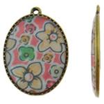Pendants Decal aliazh zink, Oval, Ngjyra antike bronz i praruar, asnjë, asnjë, , nikel çojë \x26amp; kadmium falas, 25.50x34.50x3.50mm, : 2mm, 50PC/Qese,  Qese