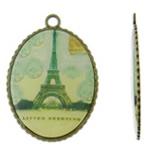 Pendants Decal aliazh zink, Oval, Ngjyra antike bronz i praruar, asnjë, asnjë, , nikel çojë \x26amp; kadmium falas, 35x49x2mm, : 3.5mm, 50PC/Qese,  Qese