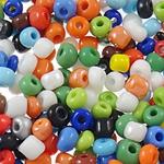 Lustered Glass Beads farë, Seed Glass Beads, Round, famë, ngjyra të forta, ngjyra të përziera, 3x3.6mm, : 1.5mm, 5000PC/Qese,  Qese