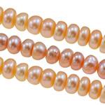 Button Beads ujërave të ëmbla kulturuar Pearl, Pearl kulturuar ujërave të ëmbla, Rondelle, natyror, ngjyra të përziera, 5-6mm, : 0.8mm, : 15Inç,  15Inç,