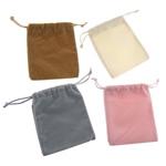 Drawstring çanta bizhuteri, Velveteen, Drejtkëndësh, asnjë, ngjyra të përziera, 95x105x2mm, 100PC/Qese,  Qese