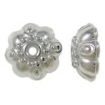 Veshura bakri Beads plastike, plastike bakrit të veshura, Lule, ngjyrë platin praruar, asnjë, asnjë, , nikel çojë \x26amp; kadmium falas, 9.5x4mm, : 2mm, 6660PC/KG,  KG