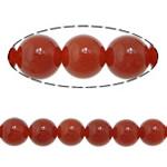 Beads Kuq Natyrore agat, Round, asnjë, asnjë, Një, 8mm, : 1.5mm, :15Inç, 10Fillesat/Shumë,  Shumë