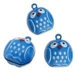 Tunxh Bell varëse, Buf, blu, , nikel çojë \x26amp; kadmium falas, 19x22.50x19mm, : 2mm, 100PC/Shumë,  Shumë