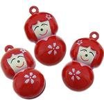 Tunxh Bell varëse, Vajzë, i kuq, , nikel çojë \x26amp; kadmium falas, 14x26.50x13mm, : 1.5mm, 100PC/Shumë,  Shumë