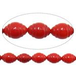 Beads Natyrore Coral, Coral Natyrore, Oval, i lyer, i kuq, 6x9mm, : 1mm, :16Inç, 10Fillesat/Shumë,  Shumë