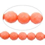 Beads Natyrore Coral, Coral Natyrore, Round, kuq pak portokalli, 8mm, : 1mm, :15.5Inç, 10Fillesat/Shumë,  Shumë