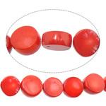 Beads Natyrore Coral, Coral Natyrore, Monedhë, i lyer, i kuq, 9-10x-9-10x4-5mm, : 1mm, :16Inç, 10Fillesat/Shumë,  Shumë