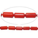 Beads Natyrore Coral, Coral Natyrore, Tub, i lyer, i kuq, 4x8mm, : 1mm, :16Inç, 10Fillesat/Shumë,  Shumë