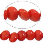 Beads Natyrore Coral, Round Flat, i lyer, i kuq, 3x6mm, : 1mm, : 15.5Inç, 10Fillesat/Shumë,  Shumë