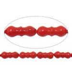 Beads Natyrore Coral, Coral Natyrore, Bambu, i lyer, i kuq, 5x10mm, : 0.8mm, :16.2Inç, 10Fillesat/Shumë,  Shumë