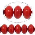 Beads Natyrore Coral, Coral Natyrore, Rondelle, i lyer, i kuq, 8x5mm, : 1mm, : 16Inç, 10Fillesat/Shumë,  Shumë
