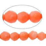 Beads Natyrore Coral, Coral Natyrore, Round, kuq pak portokalli, 3mm, : 0.8mm, :16Inç, 10Fillesat/Shumë,  Shumë