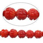 Beads Natyrore Coral, Coral Natyrore, Round, Gdhendur, i kuq, 8mm, : 1.5mm, : 16.5Inç, 10Fillesat/Shumë,  Shumë
