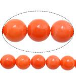 Beads Natyrore Coral, Coral Natyrore, Round, i lyer, kuq pak portokalli, 8mm, : 1mm, :16Inç, 10Fillesat/Shumë,  Shumë