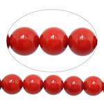 Beads Natyrore Coral, Coral Natyrore, Round, i lyer, i kuq, 9mm, : 1.5mm, :15Inç, 10Fillesat/Shumë,  Shumë