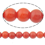 Natürliche Korallen Perlen, rund, rote Orange, 4mm, Bohrung:ca. 0.5mm, Länge:ca. 15.5 ZollInch, 10SträngeStrang/Menge, ca. 110PCs/Strang, verkauft von Menge