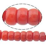 Beads Natyrore Coral, Coral Natyrore, Rondelle, i lyer, i kuq, 3x2mm, : 0.5mm, :15.5Inç, 10Fillesat/Shumë,  Shumë