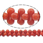 Beads Natyrore Coral, Coral Natyrore, Nuggets, i lyer, i kuq, 8x4mm, : 0.5mm, :16Inç, 10Fillesat/Shumë,  Shumë