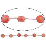 Beads Natyrore Coral, Coral Natyrore, Lule, Gdhendur, rozë, 10x10x5mm, : 0.5mm, :16Inç, 10Fillesat/Shumë,  Shumë