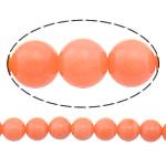 Natürliche Korallen Perlen, rund, rote Orange, 5mm, Bohrung:ca. 0.5mm, Länge:ca. 15.5 ZollInch, 10SträngeStrang/Menge, ca. 85PCs/Strang, verkauft von Menge