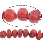 Beads Natyrore Coral, Coral Natyrore, Nuggets, i lyer, i kuq, 6-8x5-6mm, : 0.5mm, :16Inç, 10Fillesat/Shumë,  Shumë