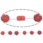 Beads Natyrore Coral, Coral Natyrore, Lule, Gdhendur, i kuq, 10x5mm, : 0.5mm, :15Inç, 10Fillesat/Shumë,  Shumë
