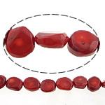 Beads Natyrore Coral, Coral Natyrore, Nuggets, i lyer, i kuq, 23x10mm, : 1.5mm, :17Inç, 10Fillesat/Shumë,  Shumë