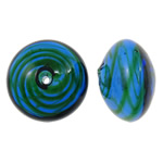 Beads lulëzim Lampwork, Rondelle, fryj, i uritur, asnjë, 17x11, : 2mm, 50PC/Qese,  Qese