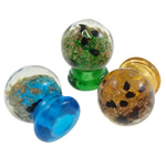 Parfum Shishe lampwork, Shape Tjera, punuar me dorë, rërë ari, ngjyra të përziera, 15.5x20mm, : 5mm, 10PC/Qese,  Qese