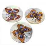 Pendants Shell, Deti Shell, Round Flat, brushwork, asnjë, e bardhë, 35x35x2mm, : 2mm, 20PC/Shumë,  Shumë
