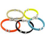 Cord Bracelets PU, Shape Tjera, ngjyrë platin praruar, asnjë, ngjyra të përziera, 10mm, 7x13mm, 36x13mm, :9Inç, 30Fillesat/Shumë,  Shumë