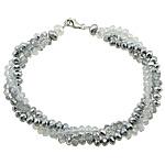 Bracelets Crystal, Kristal, Rondelle, ngjyrë platin praruar, 3-fije floku & faceted, ngjyra të përziera, 8mm, 4x3mm, 6x5mm, :8Inç, 10Fillesat/Shumë,  Shumë