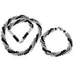 Sets bizhuteri kristal, Shape Tjera, ngjyrë platin praruar, faceted & multi-fillesë, 8mm, 4x3mm, 3Sets/Shumë,  Shumë