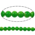 Bruz Beads, Bruz sintetike, Round, pikturë, e gjelbër, 8mm, : 1mm, : 15.7Inç, 54PC/Fije floku,  15.7Inç,