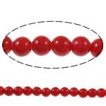 Bruz Beads, Bruz sintetike, Round, pikturë, i kuq, 8mm, : 1mm, : 15.7Inç, 54PC/Fije floku,  15.7Inç,