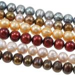 Patates Beads ujërave të ëmbla kulturuar Pearl, Pearl kulturuar ujërave të ëmbla, i lyer, ngjyra të përziera, 6-7mm, : 0.8mm, : 16.5Inç, 50Fillesat/Qese,  Qese