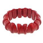 Fashion Bracelets Turquoise, Bruz sintetike, with Thread elastik, Shape Tjera, i lyer, asnjë, i kuq, 10x24mm,13x28mm, :8Inç, 20Fillesat/Shumë,  Shumë