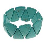 Fashion Bracelets Turquoise, Bruz sintetike, with Thread elastik, Shape Tjera, i lyer, asnjë, e gjelbër, 23x34x6mm, :8Inç, 20Fillesat/Shumë,  Shumë