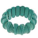 Fashion Bracelets Turquoise, Bruz sintetike, with Thread elastik, Shape Tjera, i lyer, asnjë, e gjelbër, 10x24mm,13x28mm, :8Inç, 20Fillesat/Shumë,  Shumë