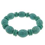 Fashion Bracelets Turquoise, Bruz sintetike, with Thread elastik, Shape Tjera, i lyer, asnjë, e gjelbër, 15x20mm,12x3mm, :8Inç, 20Fillesat/Shumë,  Shumë
