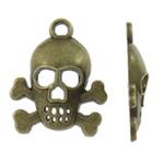 Pendants Skull Alloy zink, Kafkë, Ngjyra antike bronz i praruar, asnjë, asnjë, , nikel çojë \x26amp; kadmium falas, 17x21x4mm, : 2mm, 905PC/KG,  KG