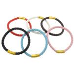 Cord Bracelets PU, Shape Tjera, ngjyrë ari praruar, asnjë, ngjyra të përziera, 6.2mm, 22x8.8mm, :9Inç, 50Fillesat/Shumë,  Shumë
