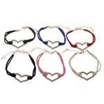 Velvet Bracelets Fashion Cord, Kurrizit Lesh, with Alloy zink, ngjyra të përziera, 31.8x19mm, 4.5mm, :6Inç, 50Fillesat/Shumë,  Shumë