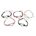 Velvet Bracelets Fashion Cord, Kurrizit Lesh, with Alloy zink, ngjyra të përziera, 31.8x19mm, 4.5mm, : 7Inç, 50Fillesat/Shumë,  Shumë