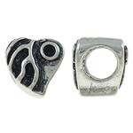 Beads Zink Alloy Vendosja, Alloy zink, Zemër, Ngjyra antike argjendi praruar, vrimë e madhe, asnjë, , nikel çojë \x26amp; kadmium falas, 9x9x8.50mm, : 5mm, 10PC/Qese,  Qese